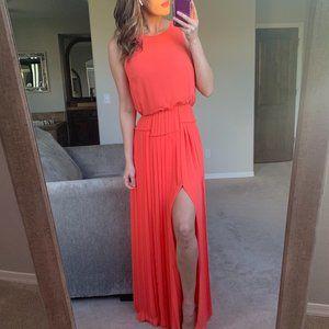 BCBG MaxAzria Neon Coral Slit Pleated Maxi Dress